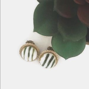 Vintage Green and White Japan Clip On Earrings